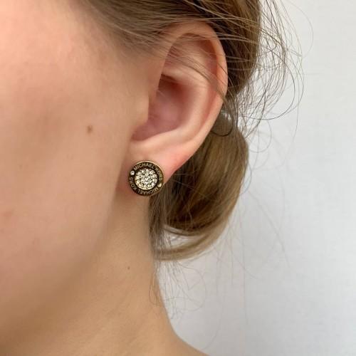 Женские сережки-гвоздики из гипоаллергенного сплава с кубическими циркониями