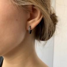 Черные серьги кольца медицинская сталь с циркониями 9 камней 2 мм