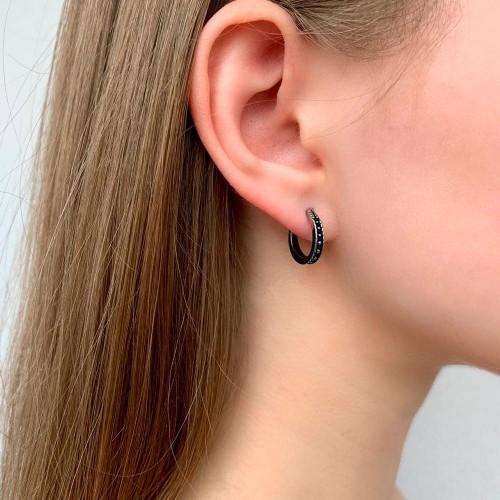 Серьга-кольцо в ухо из медицинской стали (1шт)