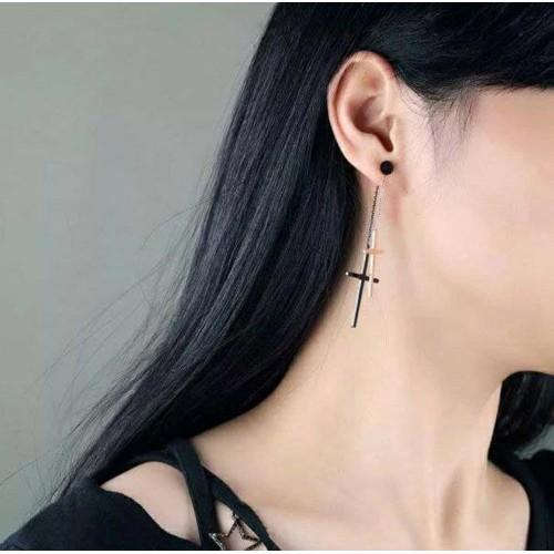 Серьги-подвески из стали для женщин Кресты на цепочке