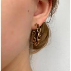 Незамкнутые серьги-кольца в виде цепочки золотого цвета Мона