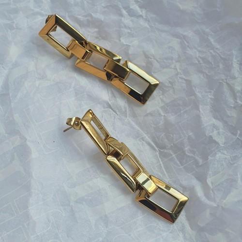 Длинные прямоугольные серьги из стали золотого цвета Трио