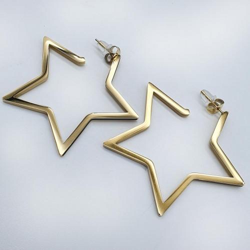 Стальные серьги-гвоздики Звезды золотого цвета