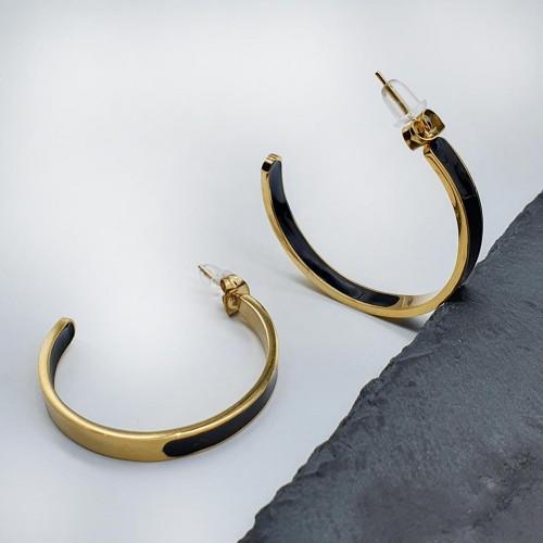 Незамкнутые стальные серьги-кольца Селена