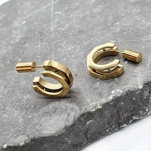 Стильные серьги из стали стойкое PVD напыление золотого цвета