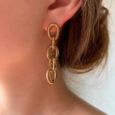 Женские серьги-цепочки в золотом цвете из ювелирной стали