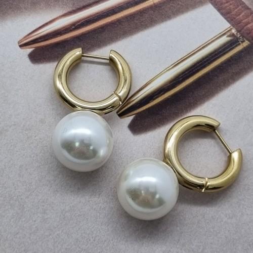 Круглые женские стальные серьги с Жемчужиной