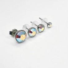 Сережки-гвоздики в уши с кристаллами-хамелеонами Swarovski 4, 6, 7 и 9 мм