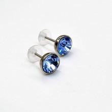 Сережки-гвоздики из медицинской стали со светло-голубым кристаллом Swarovski