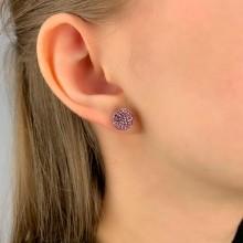 Сережки-гвоздики из стали со светло-розовыми кристаллами Swarovski