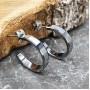 Серьги-кольца из вольфрама с квадратной гранью купить №1