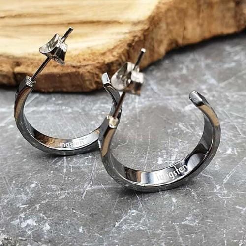 Серьги-кольца из вольфрама с квадратной гранью