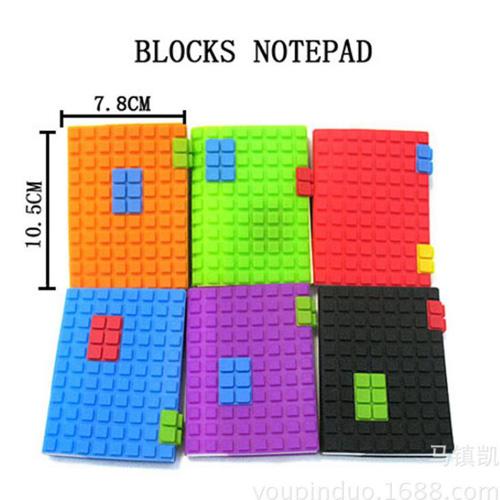 Блокнот в форме блока конструктора с силиконовой обложкой 10,5х7,5 см в ассортименте