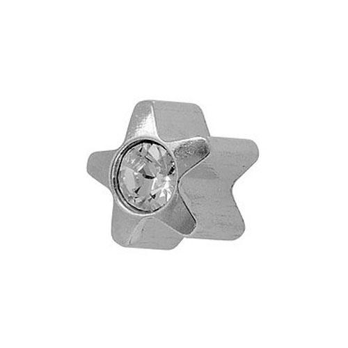 Серьги-иглы формы Studex Звездочка с хрусталем без покрытия 3 мм