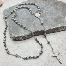 Мужская цепь-бусы розарий с крестом из медицинской стали