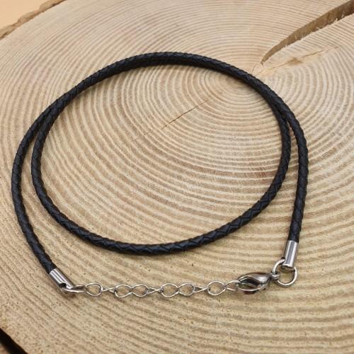 Черный шнурок из плетеной кожи и медицинской стали в ассортименте диаметр 3 мм