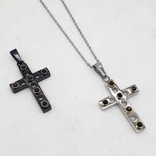 Крестик декоративный из стали с кристаллами в двух цветах