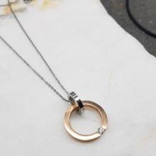 Кулон из стали с PVD покрытием Кольцо любви