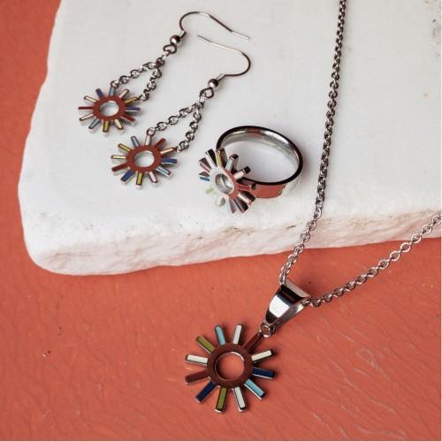 Женское стальное кольцо с цветной эмалью Цветик-семицветик