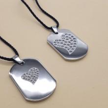 Кулон жетон стальной женский с циркониями Любовь в двух вариантах