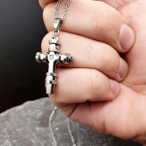 Кулон крест из стали Генезис в двух вариантах