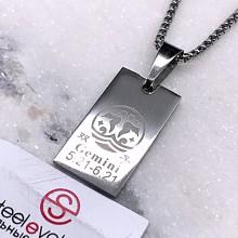 Подвеска кулон знак зодиака Близнецы медицинская сталь