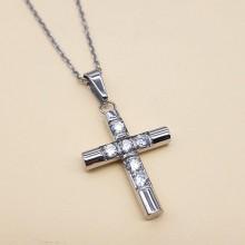 Крестик без распятия женский медицинская сталь с циркониями