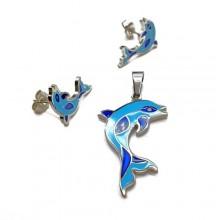 Набор украшений для девочки из хирургической стали (серьги и кулон) Дельфин