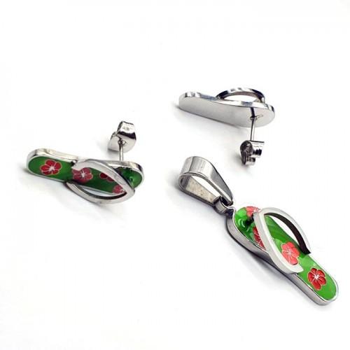 Гарнитур украшений с цветной эмалью кулон и сережки-пусеты Пляж