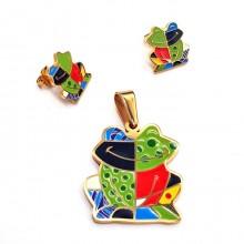 Набор бижутерии для девочки (сережки и кулон) Царевна-лягушка