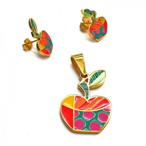 Гарнитур из ювелирной стали для девочки Летнее яблоко