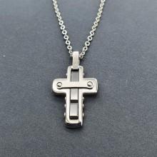 Кулон-крест без распятия из медицинской стали