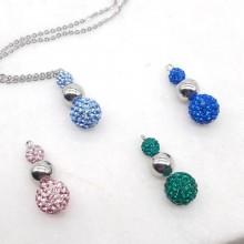 Кулон стальной с цветными кристаллами Гарлин в четырех цветах