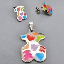 Подарочный набор украшений для девочек кулон и сережки Медвежонок Барни
