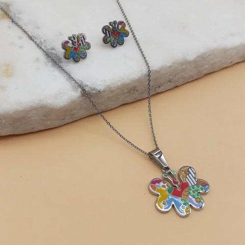 Детский комплект украшений из эмали и хирургической стали кулон и сережки Бабочка