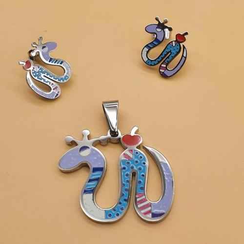 Набор бижутерии с эмалью для девочек кулон и серьги Королевская змея в двух вариантах