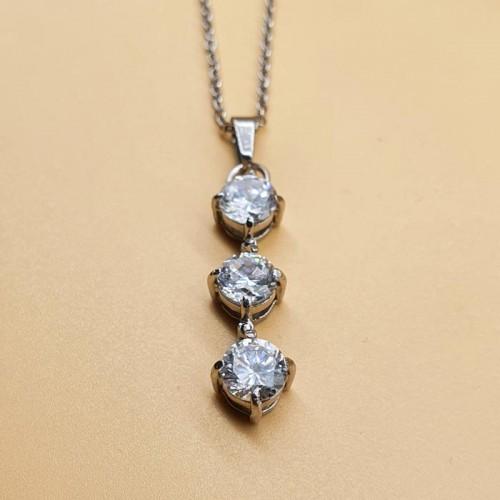 Женский кулон из стали Три кристалла