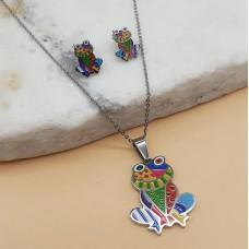 Яркий комплект украшений для детей с цветной эмалью Лягушка-подружка