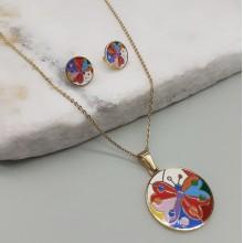 Комплект детских украшений из стали с разноцветной эмалью Бабочка