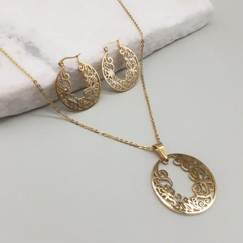 Золотистый праздничный набор украшений подвеска и серьги-кольца Кармен