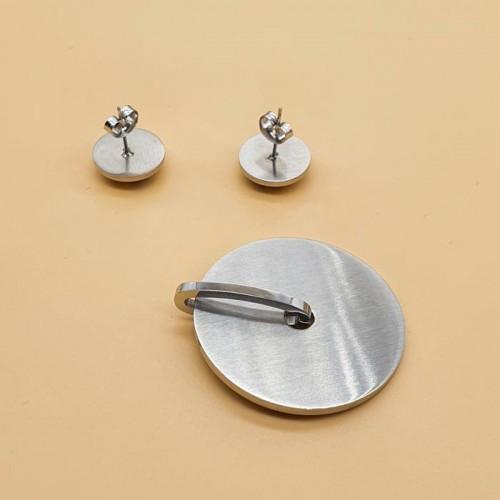 Гарнитур серьги + кулон сталь и цветная эмаль Краски весны