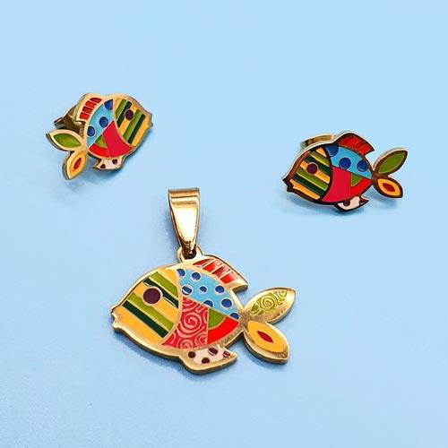 Детский гарнитур ювелирной бижутерии с разноцветной эмалью Рыбка