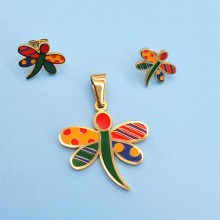 Комплект детской бижутерии из стали Веселые бабочки