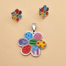 Детский набор бижутерии из ювелирного сплава и эмалевым покрытием Цветик-семицветик