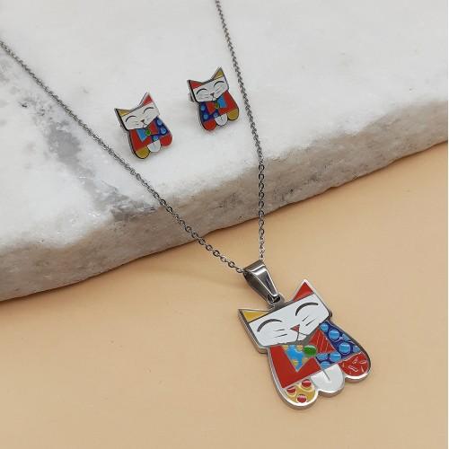 Гарнитур бижутерии для девочки (кулон и сережки-гвоздики) Кошечка