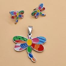 Модный комплект бижутерии для девочек из хирургической стали и цветной эмали Яркая бабочка