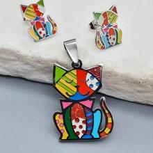 Комплект украшений для девочки сережки-гвоздики и кулон на цепочке Кот домосед