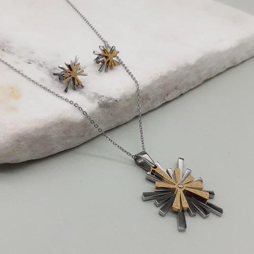 Женский набор украшений из медицинского металла (подвеска с цепочкой + серьги) Солнечные лучи