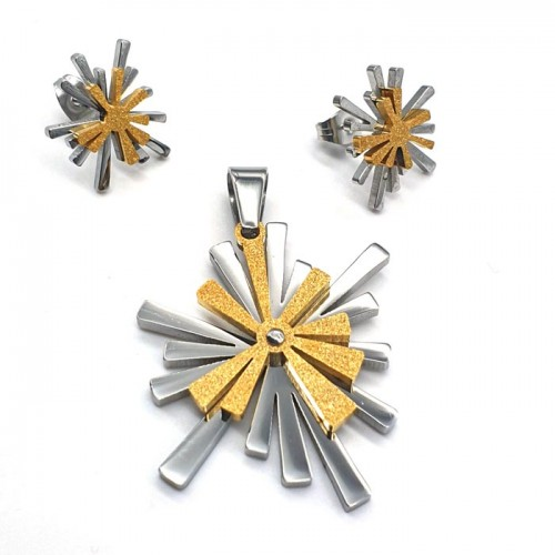 Женский набор украшений из медицинского металла (подвеска + серьги) Солнечные лучи