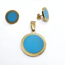 Эффектный гарнитур ювелирной бижутерии с голубой эмалью